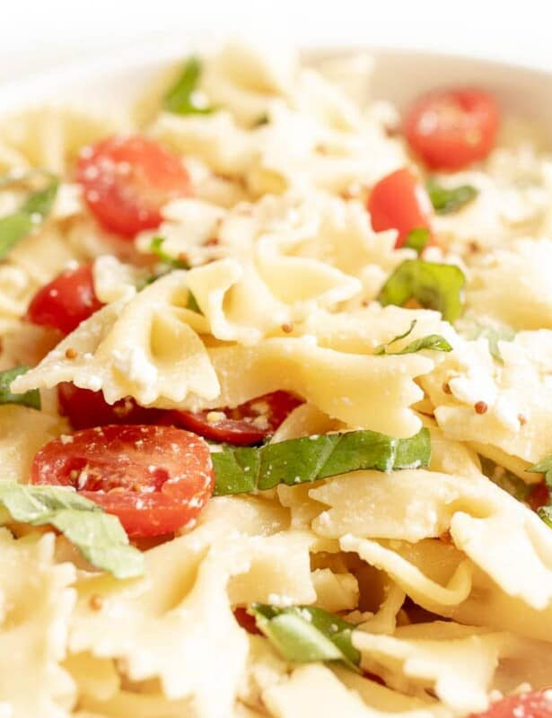 A bow tie pasta salad tossed with basil, cherry tomatoes and a light pasta salad dressing.