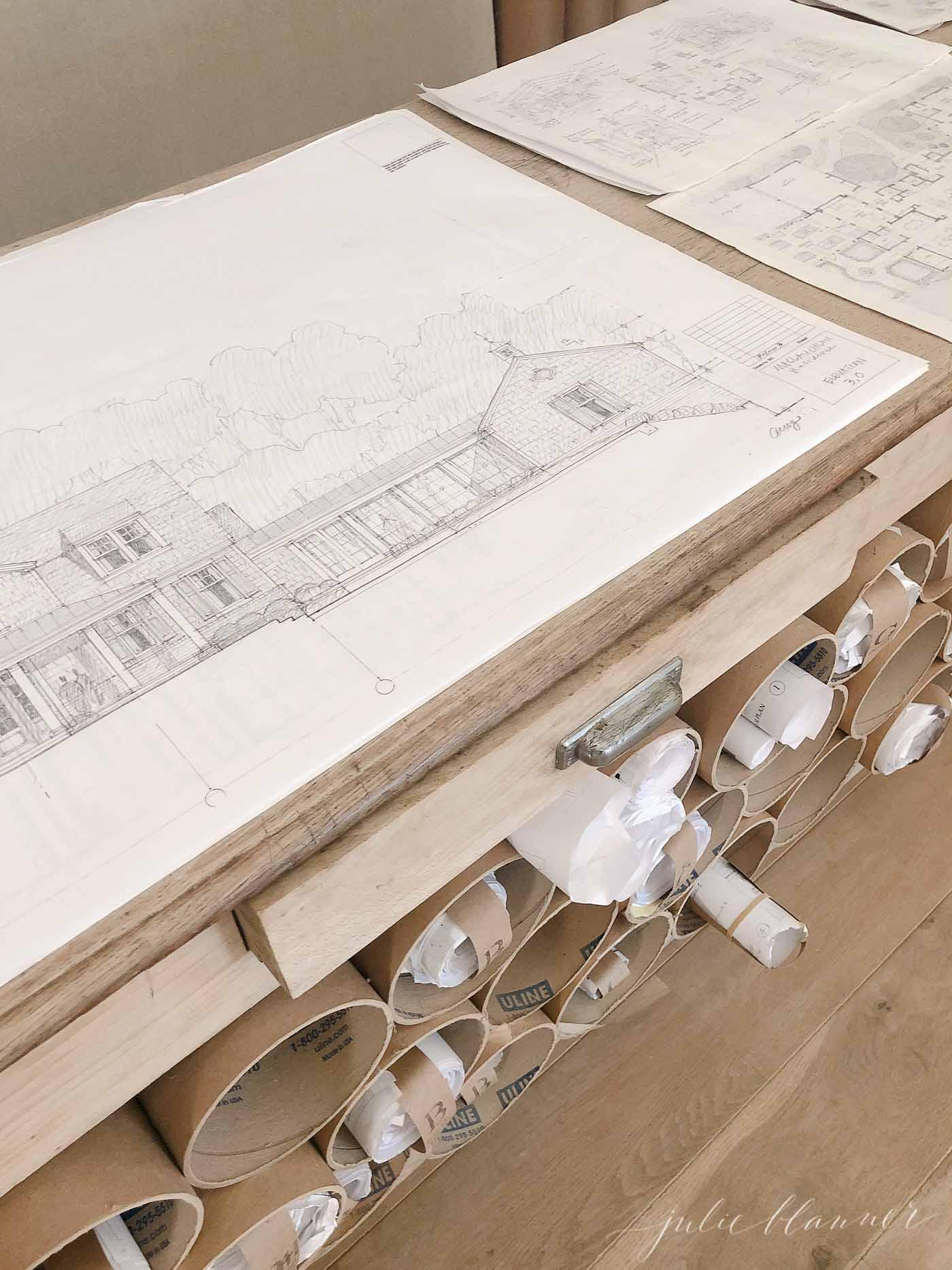 steve giannettis blueprints in patina farm office