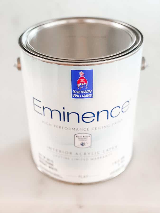 A can of Sherwin Williams Eminence ceiling paint.