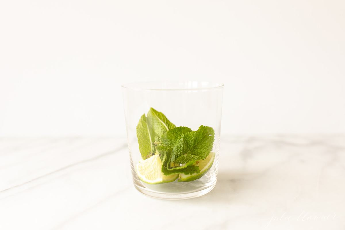 lime and mint in a glass