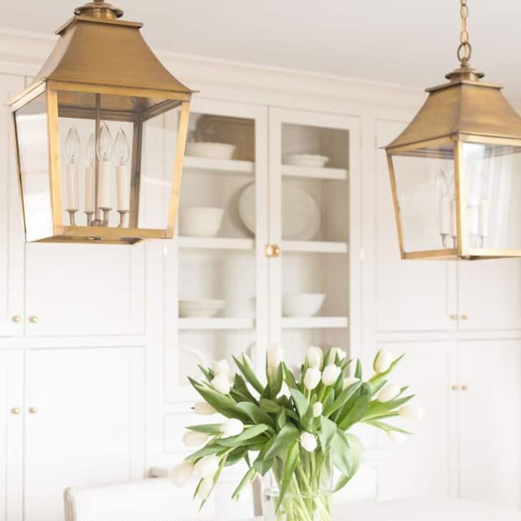 brass pendant lighting design over kitchen island