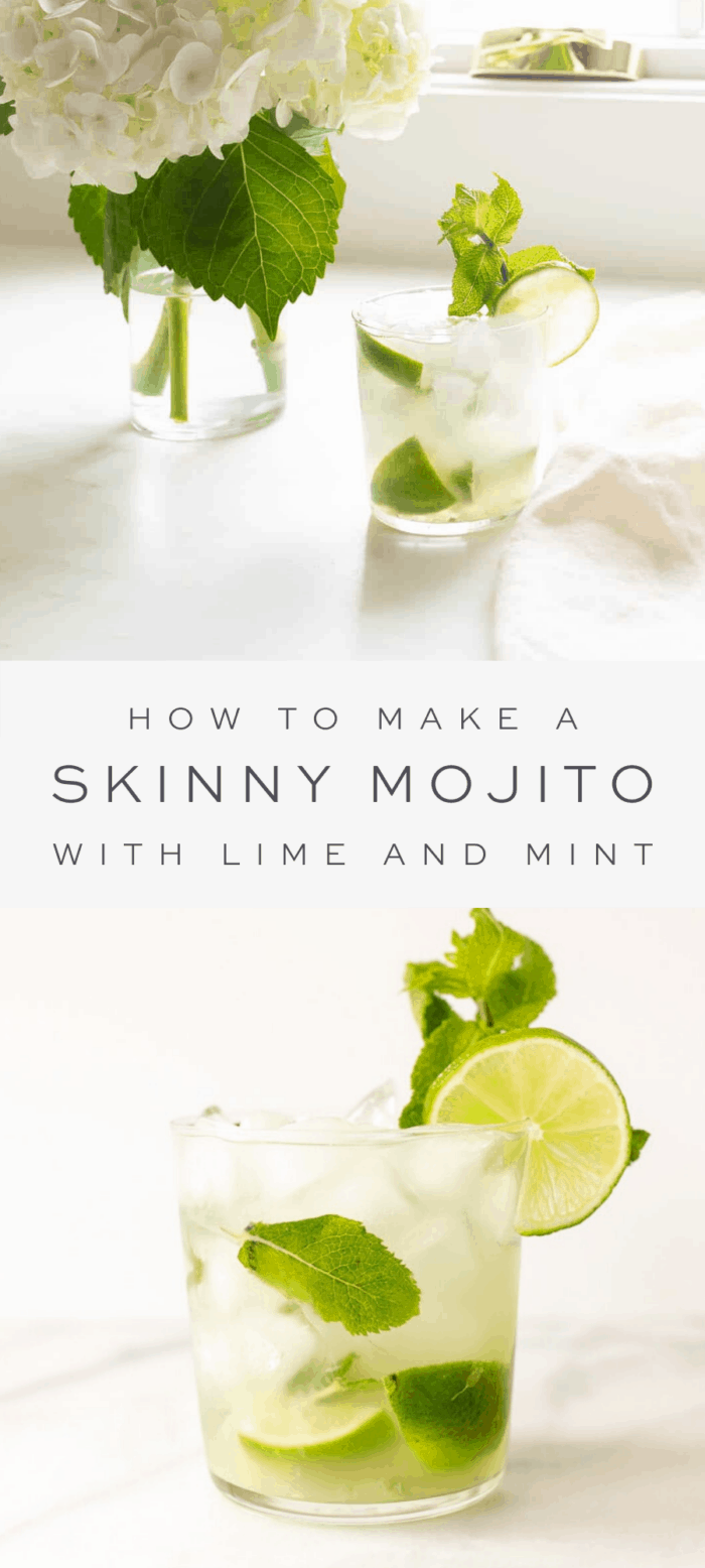 skinny mojito and flowers on the counter, overlay text, close up of skinny mojito