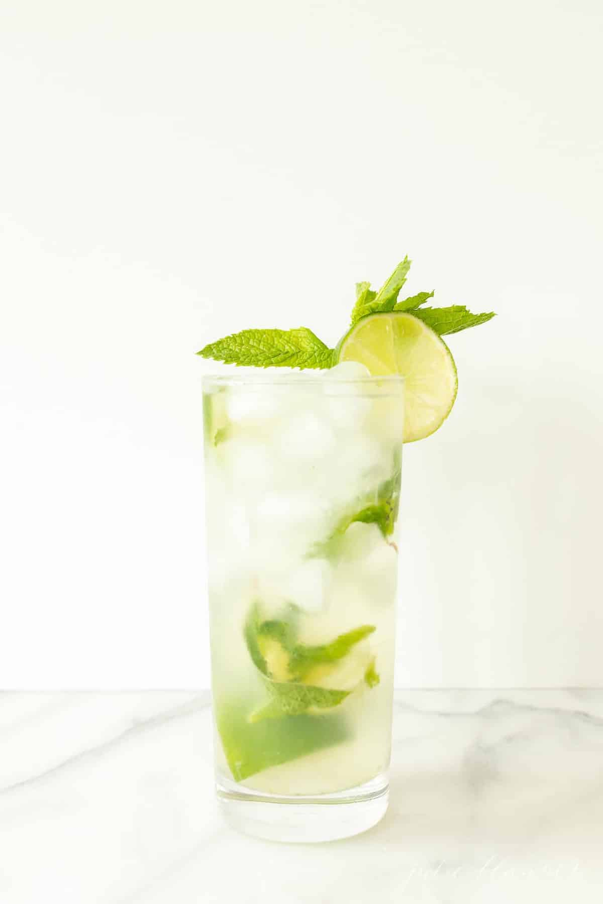 vodka mojito in highball garnished with mint sprig and lime