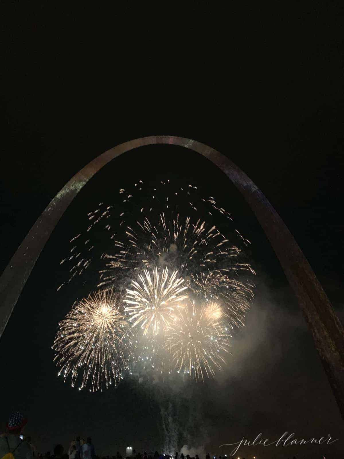 Nighttime image of the St. Louis Arch with fireworks in the foreground,