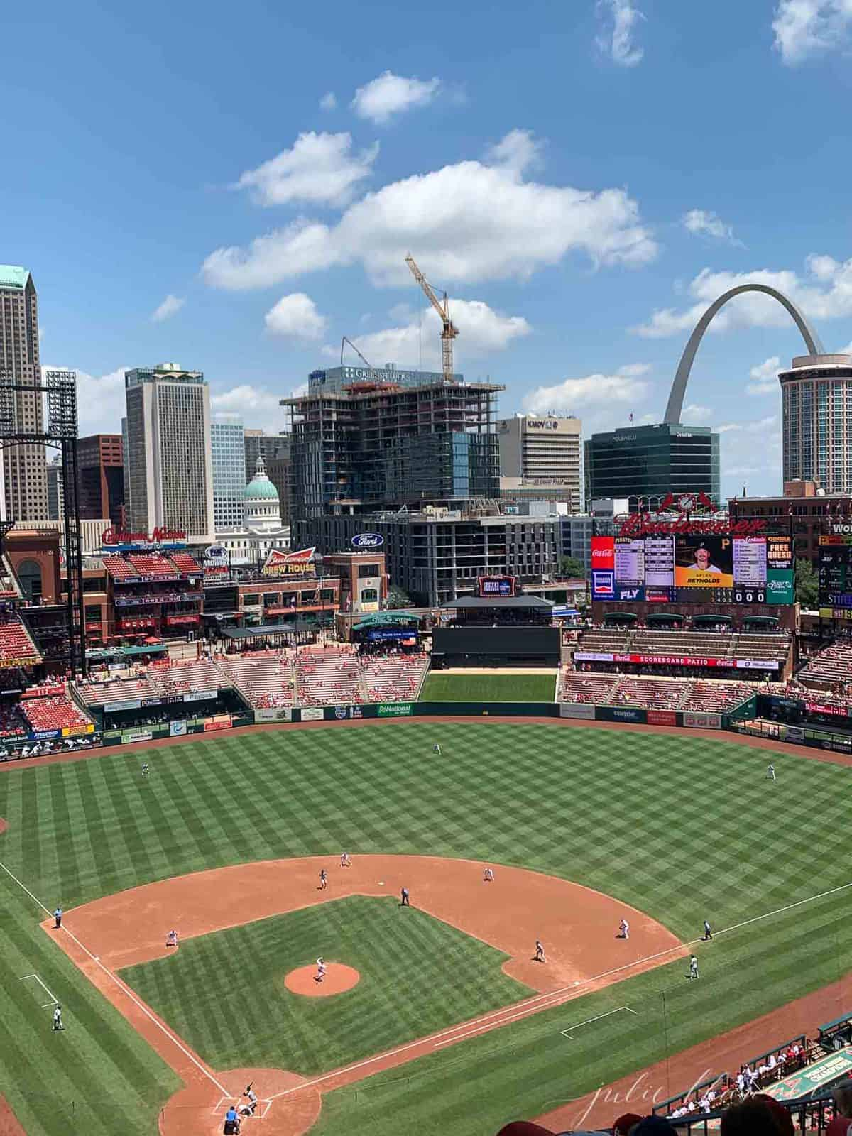 St. Louis baseball field with the arch in the background
