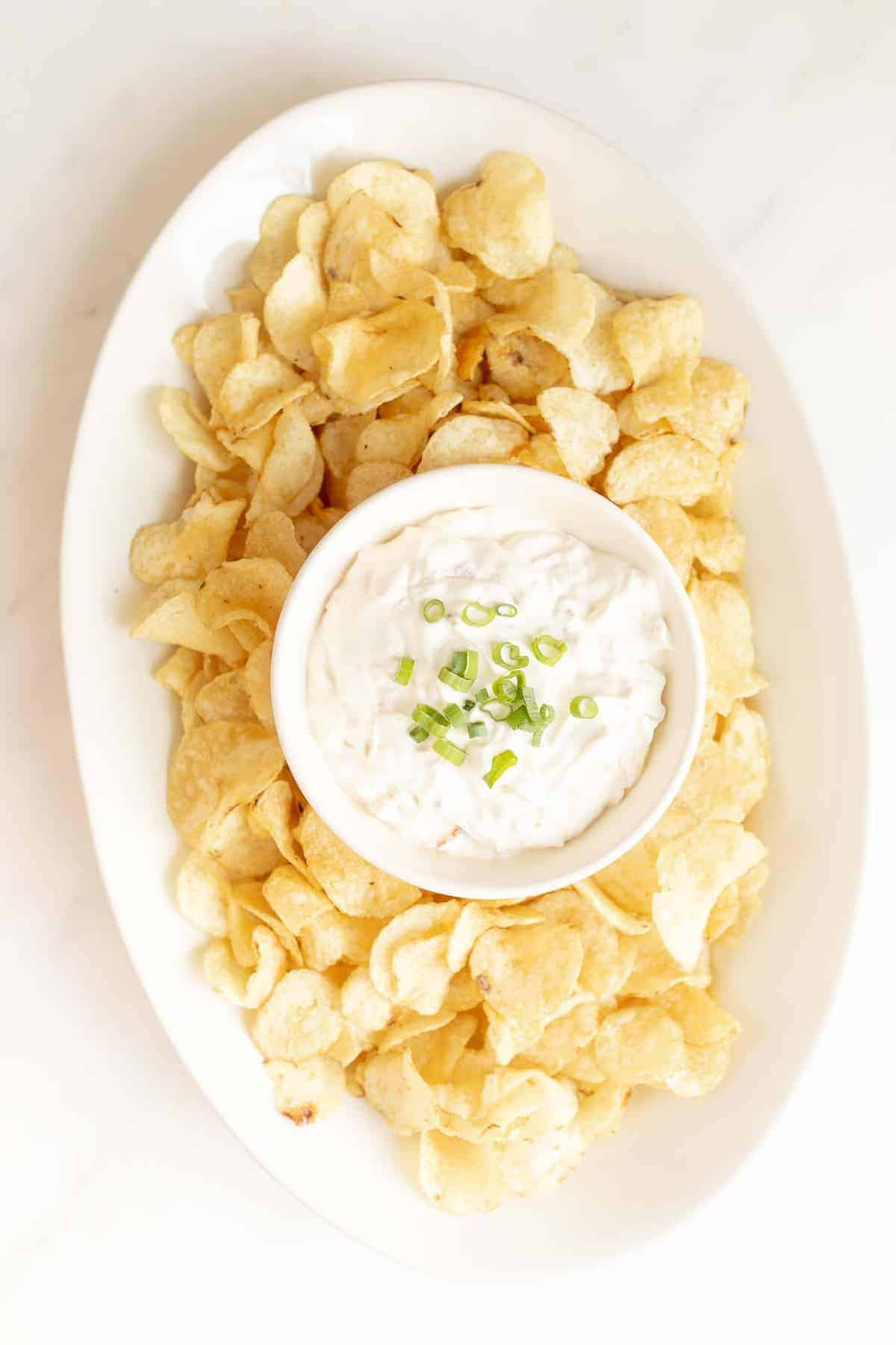chip and dip platter filled with sour cream dip