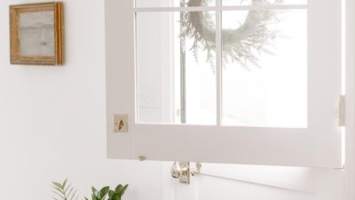 A white exterior dutch door, top open, with a zz plant on the floor by the door. #zzplant