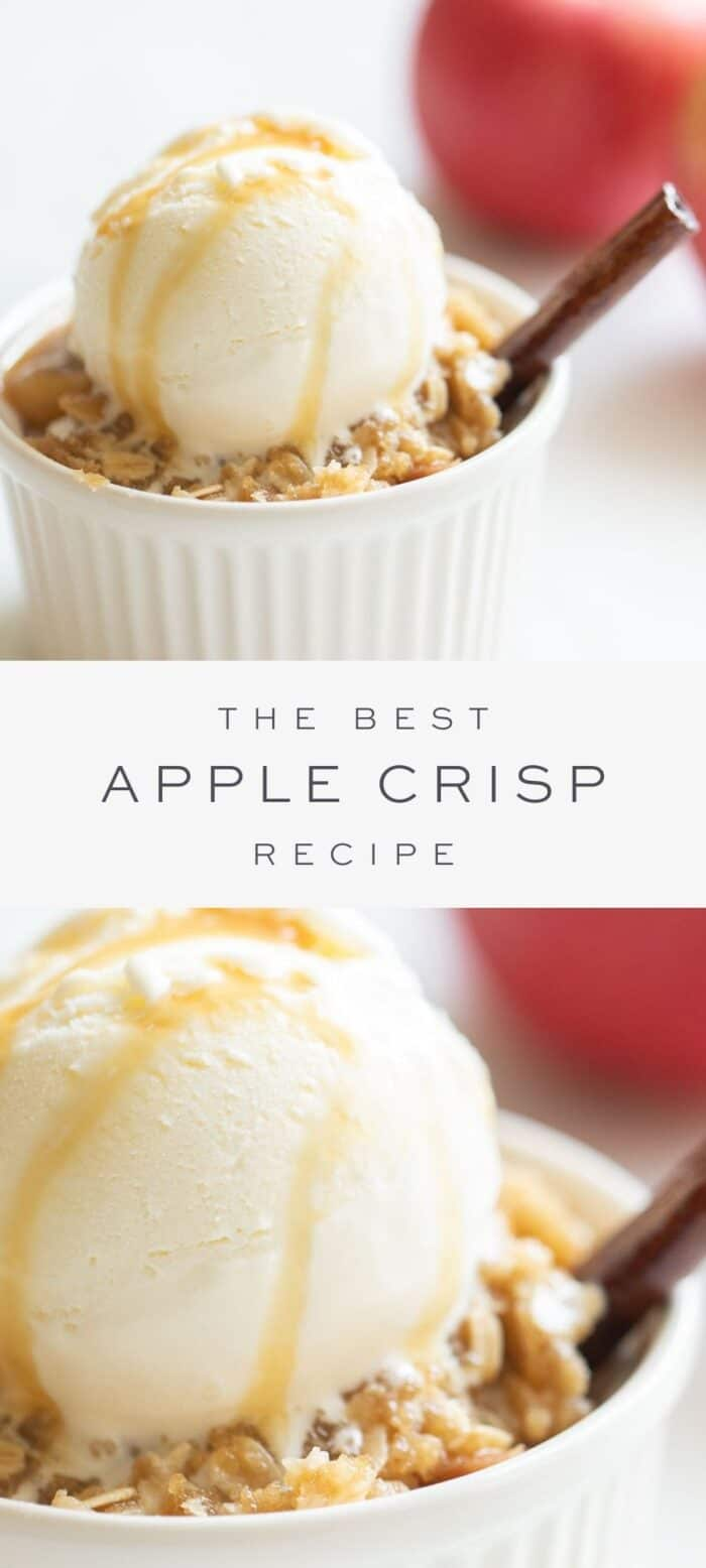 apple crisp in ramekin topped with ice cream and drizzled with caramel and a cinnamon stick, overlay text, close up of apple crisp