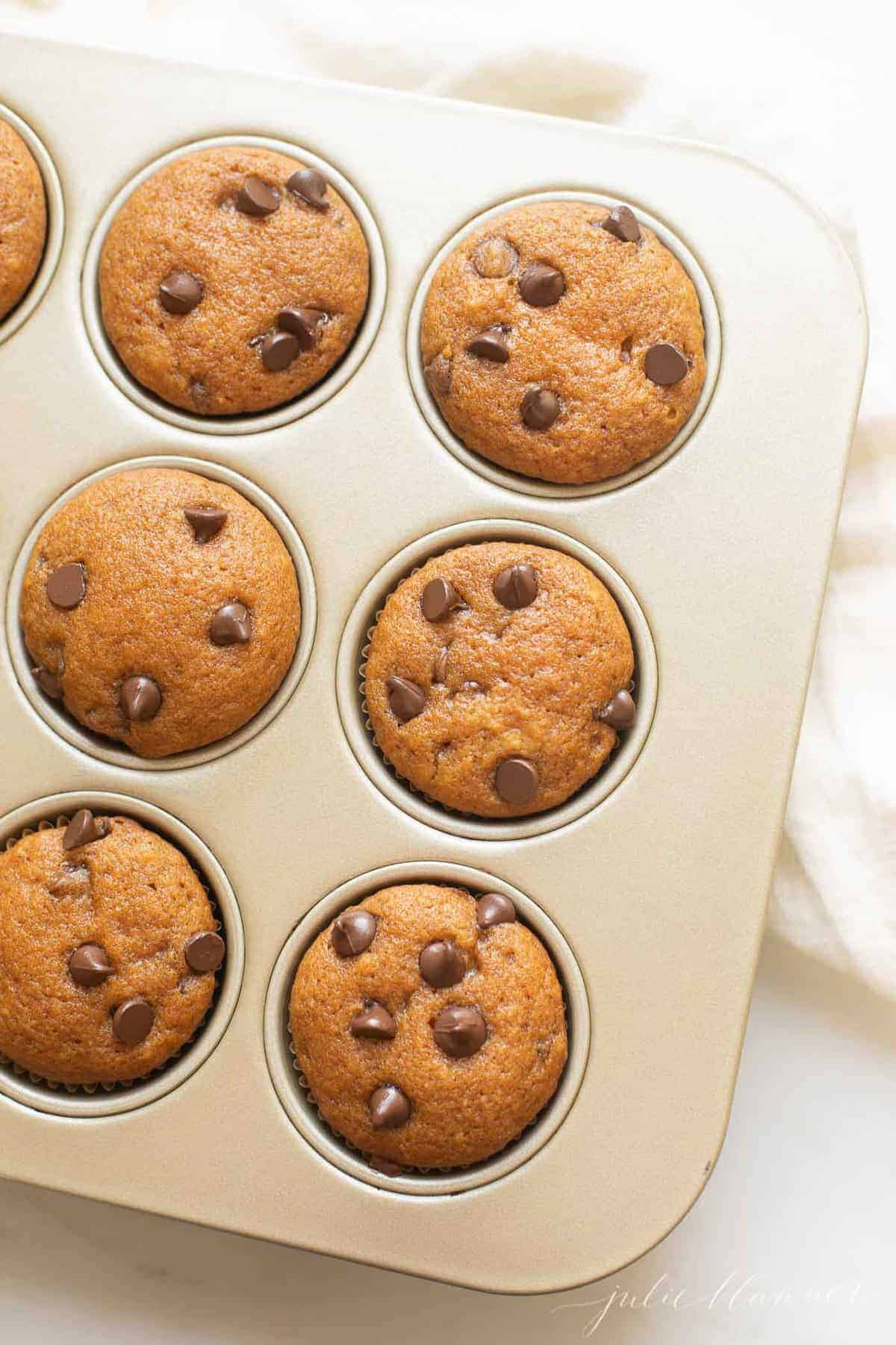 metal muffin pan with chocolate chip pumpkin muffins inside.