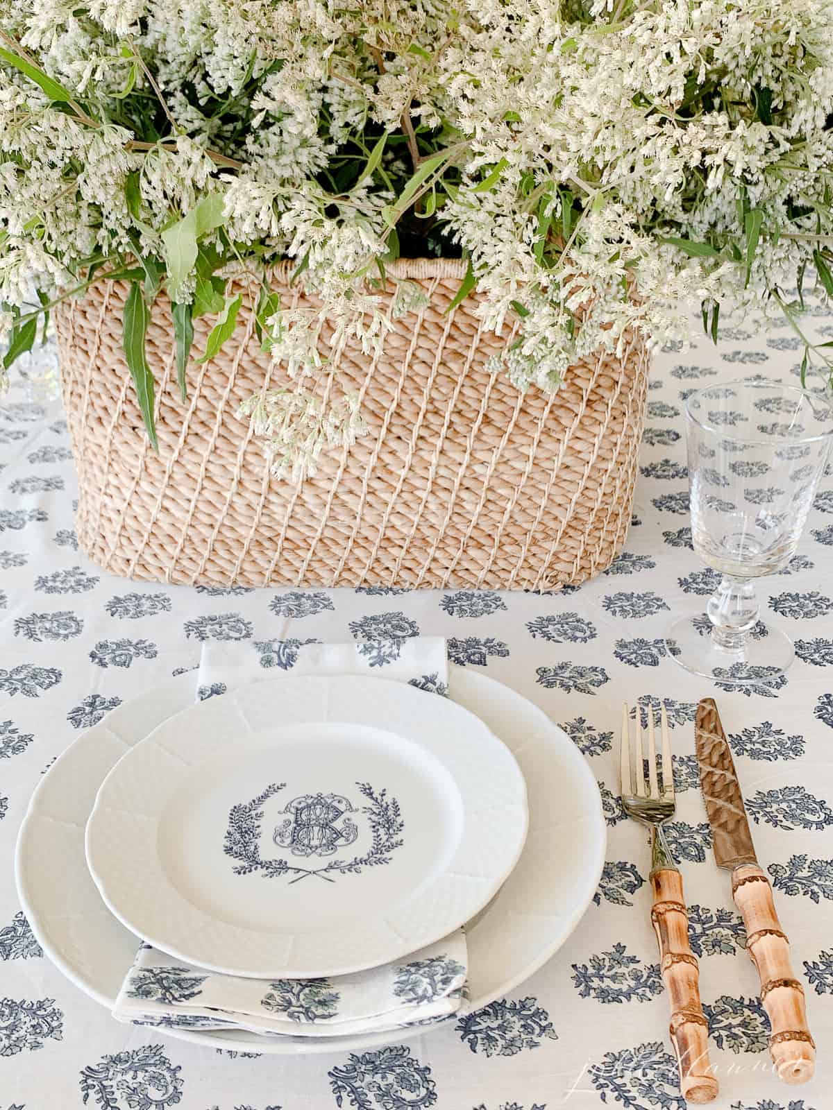 wildflower centerpiece on block print table cloth