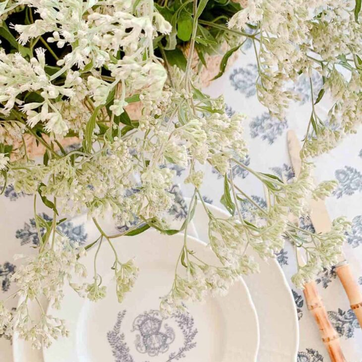 personalized china wildflowers and block print
