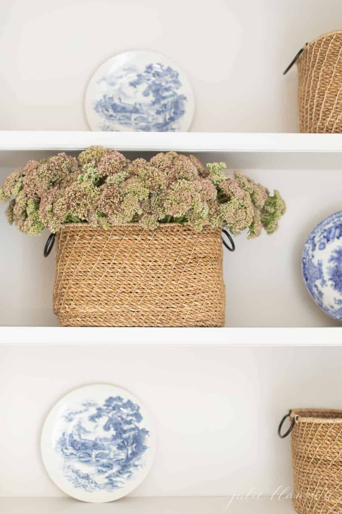 Shelves featuring a basket of fall sedum, blue and white plates as decor.