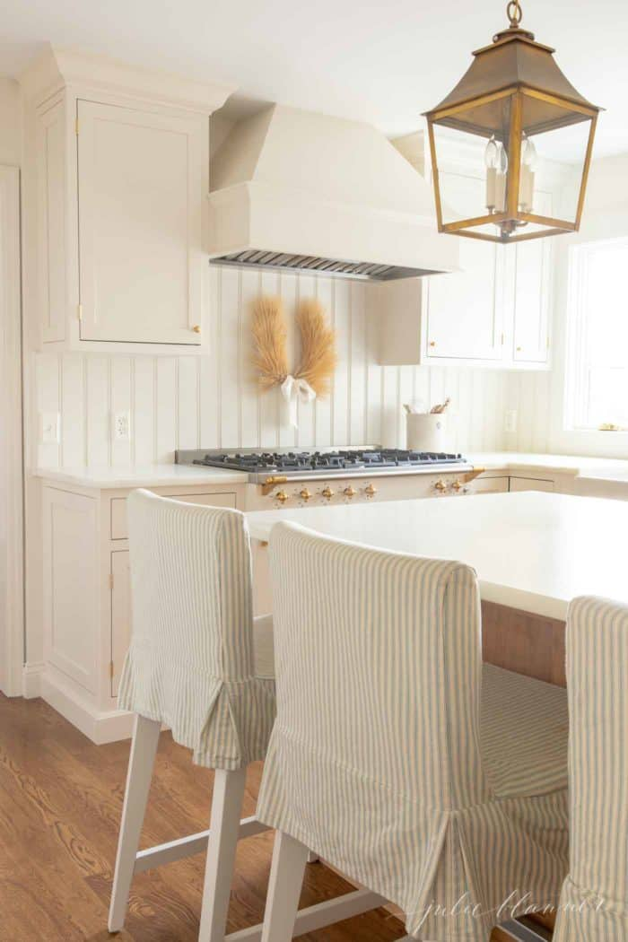 neutral kitchen with wheat laurel wreath