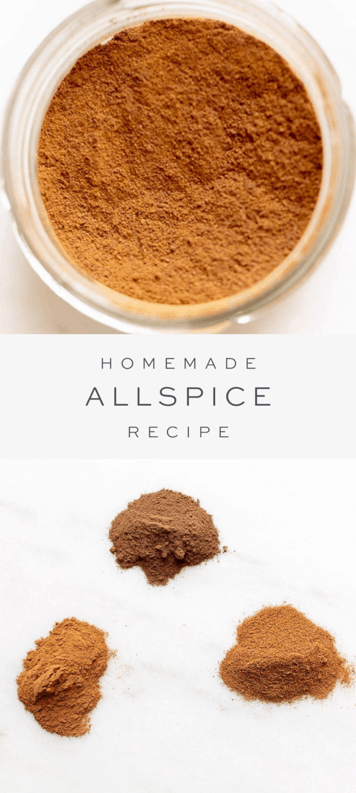 homemade allspice, text overlay, ingredients in allspice in three piles close up