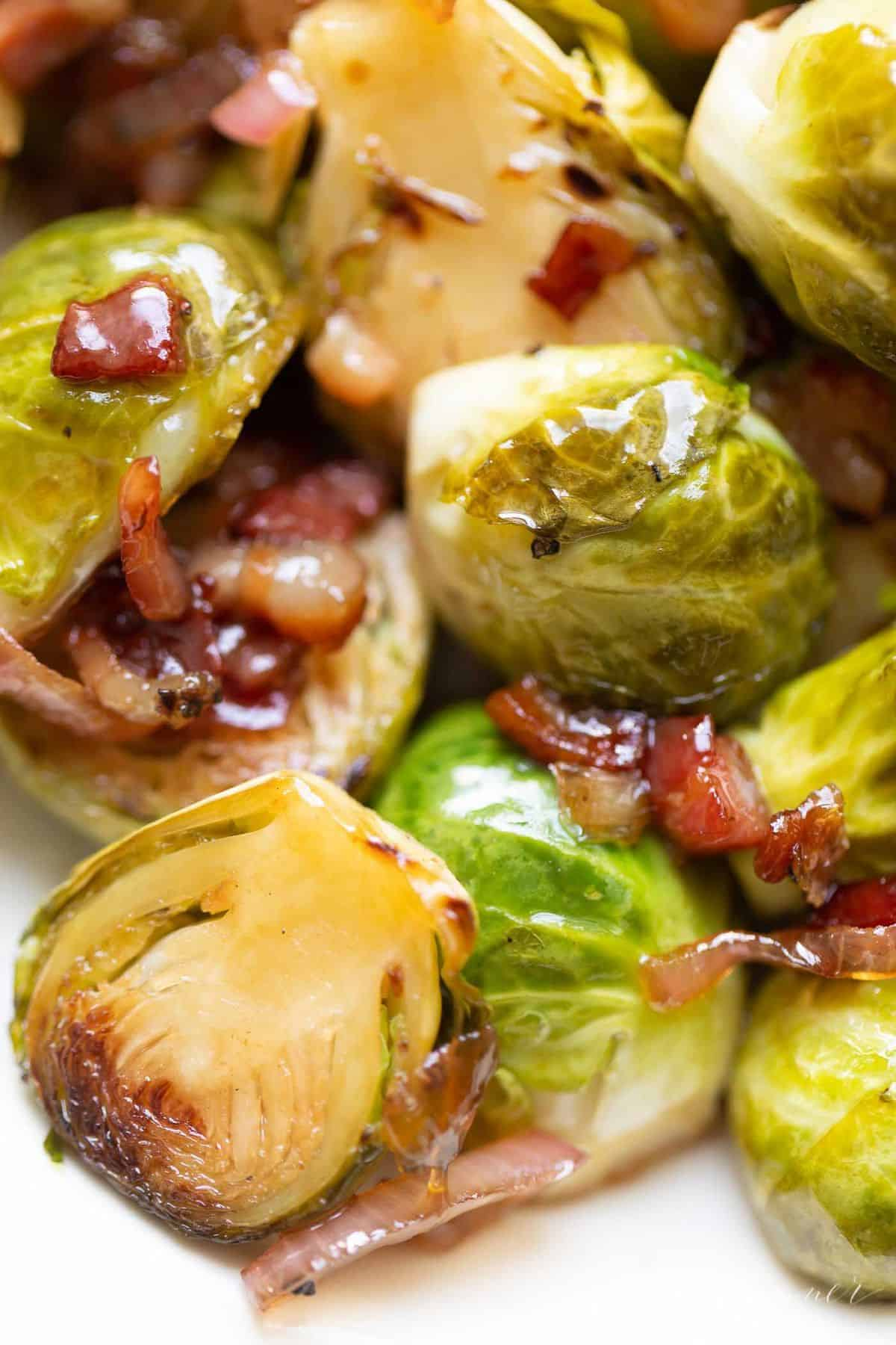 Close-up of sauteed brussels sprouts, pancetta and shallots.