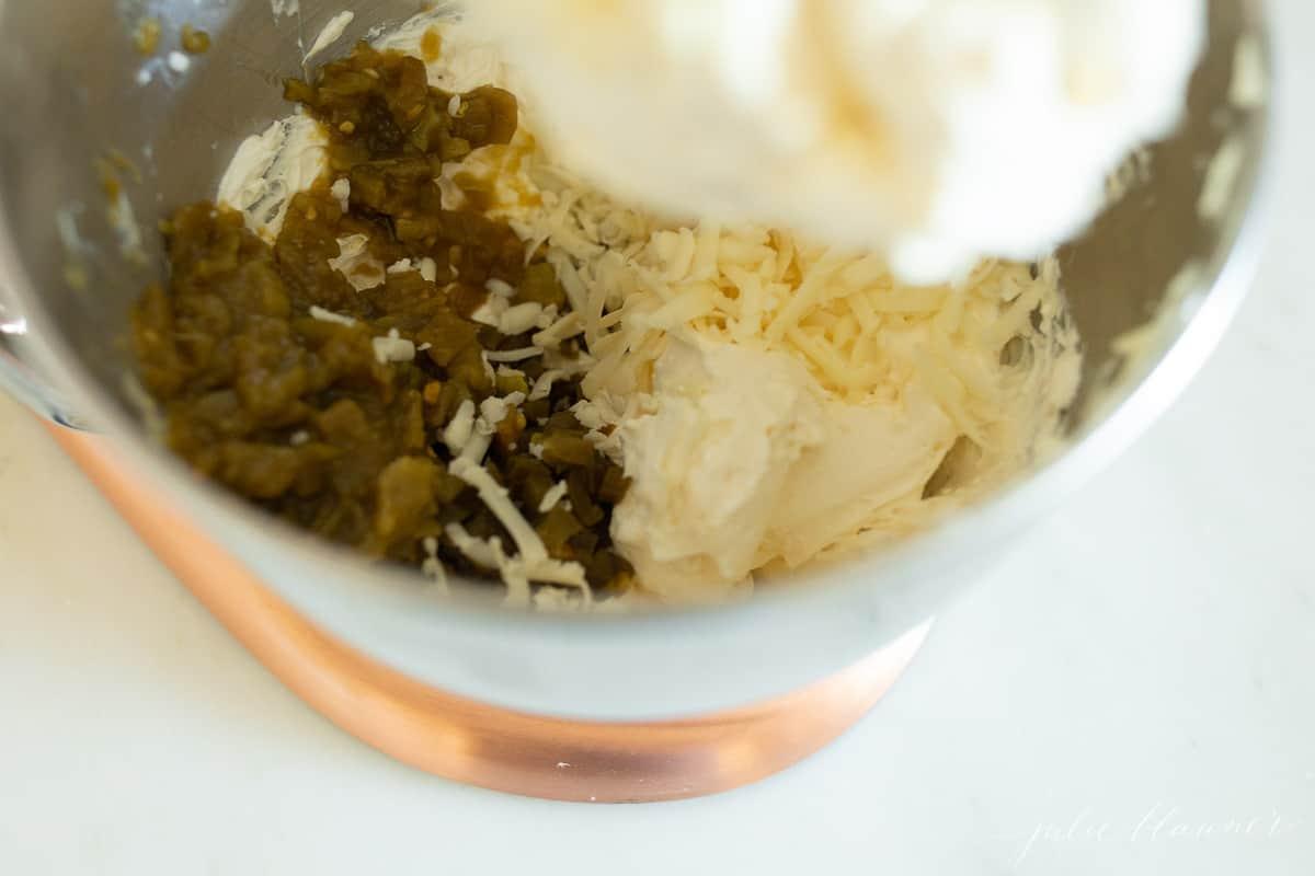 jalapeno dip ingredients in a mixing bowl