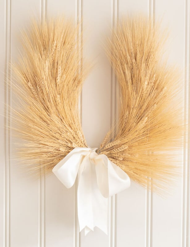 laurel wreath hanging on beadboard