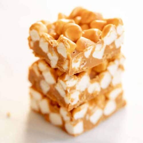 butterscotch bars stacked on top of one another
