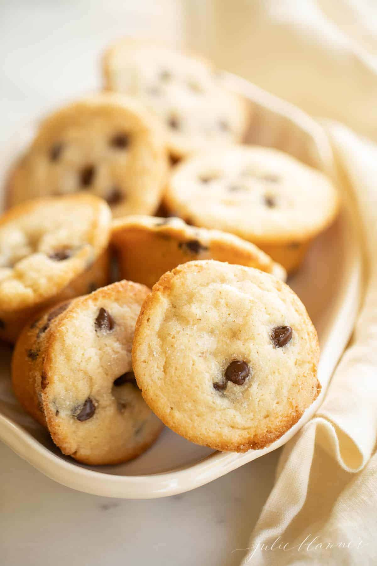 chocolate chip muffins in a bowl