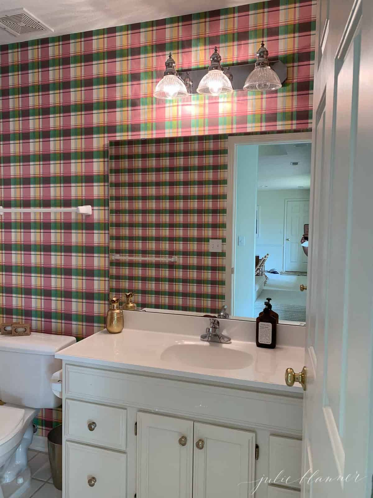 green and maroon plaid builders bath