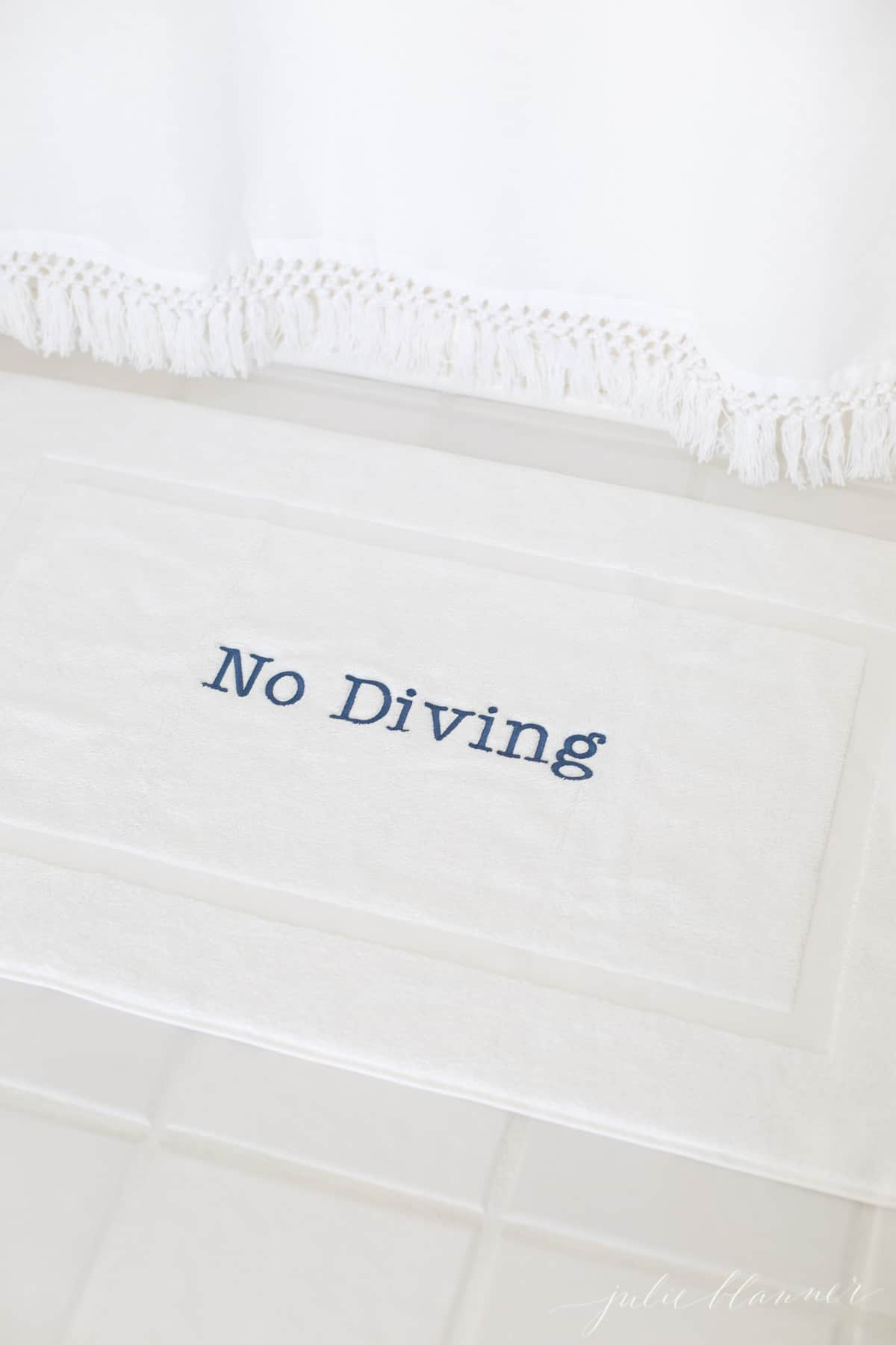 no diving bath mat by tassel shower curtain