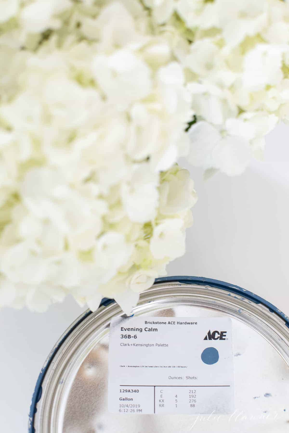 paint can with blue swatch by hydrangea