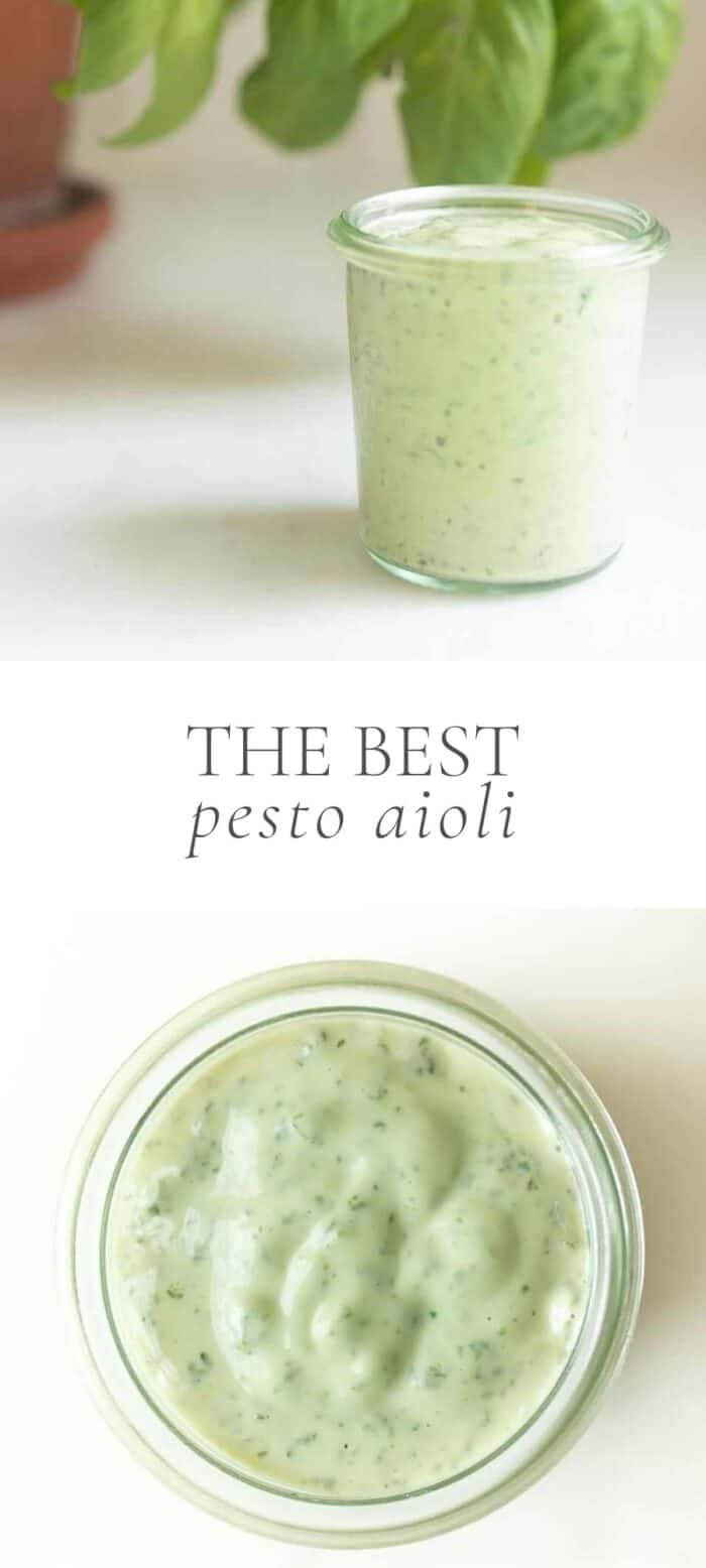 homemade pesto aioli in jar on counter with basil plant, overlay text, close up of pesto aioli