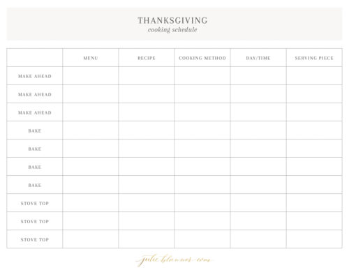 thanksgiving cookie schedule