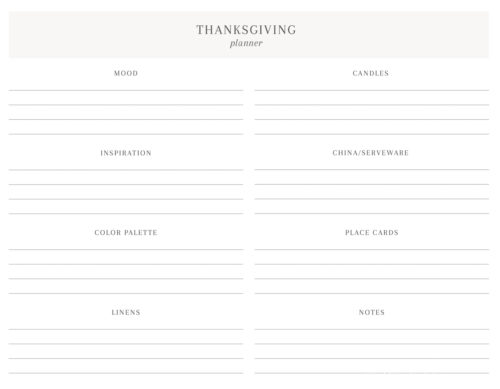 thanksgiving table decor outline