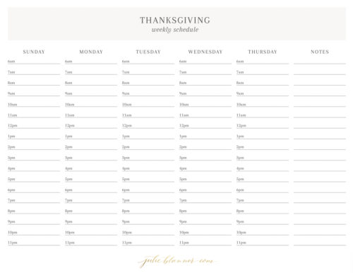 thanksgiving schedule sunday through thursday