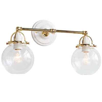 white and brass modern sconce