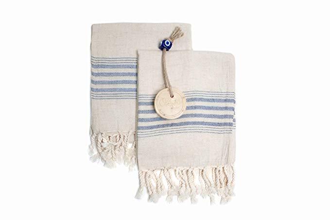 Linen Cotton Blend Tea Towel, Cream and Blue Kitchen Towel Set