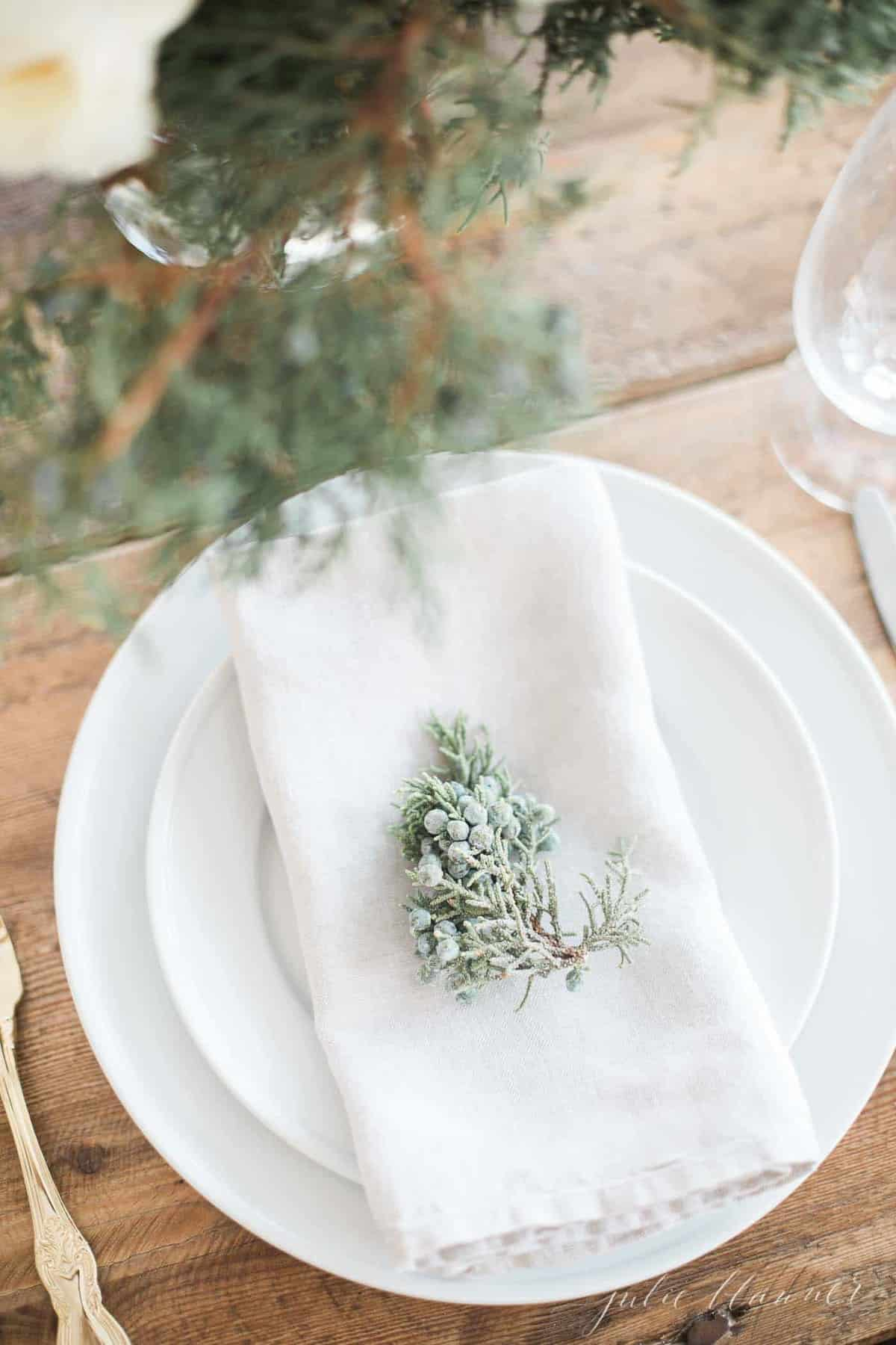 juniper on a linen napkin and white plates for christmas