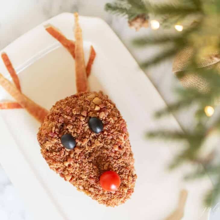 A Christmas cheese ball in the shape of a reindeer on a white platter, edge of a lit Christmas tree on the edge of the image.