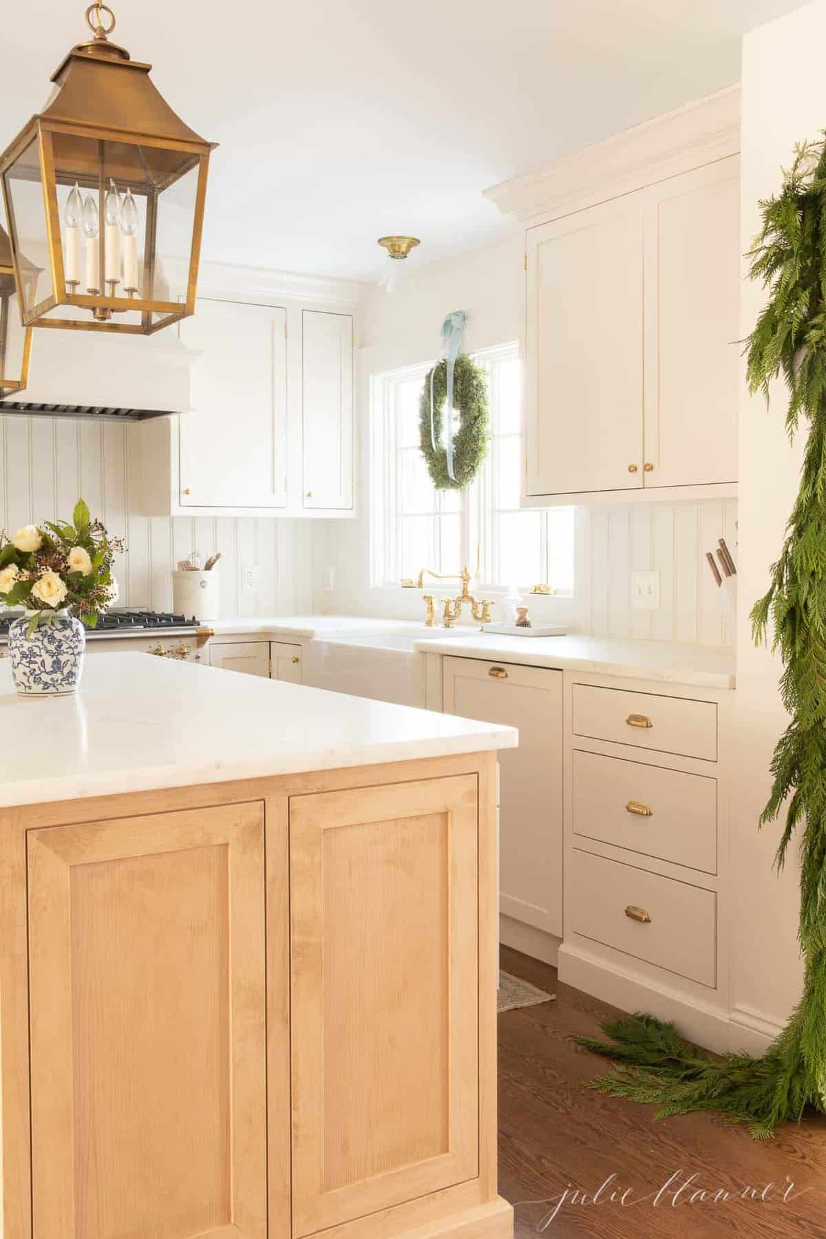 traditional kitchen decorated for christmas
