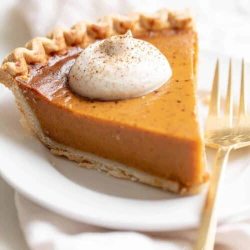 egg nog whipped cream on pumpkin pie