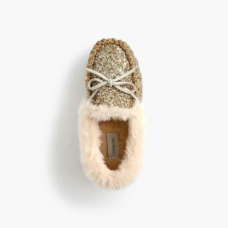 Girls' glitter-covered moccasin slippers
