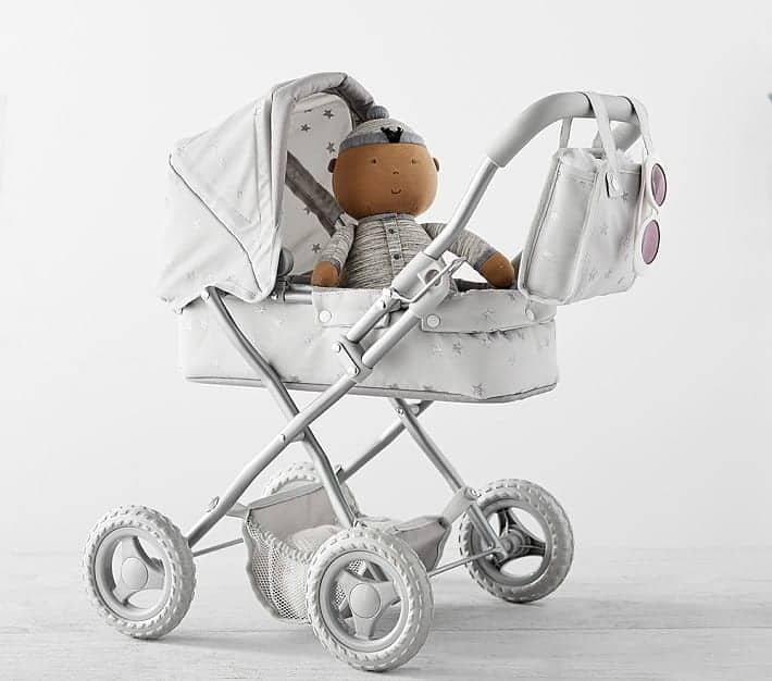 Gray Stars Mini Pram Doll Stroller