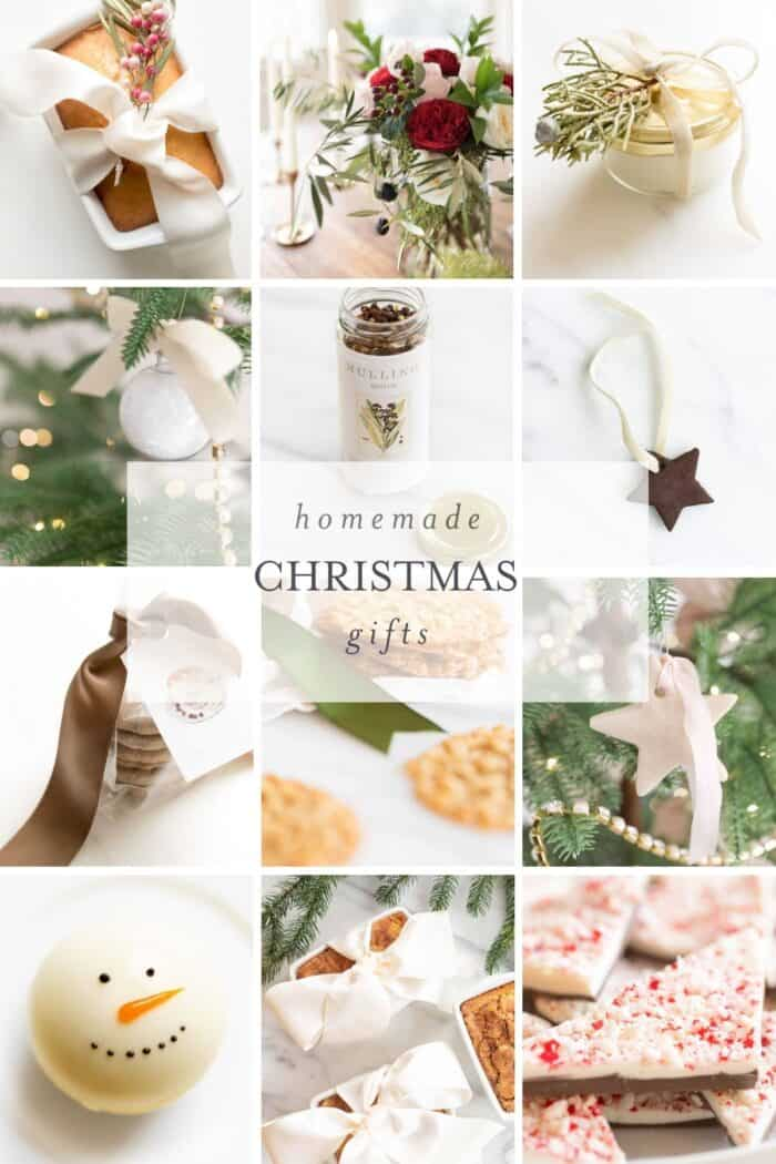an array of homemade christmas gift photos in a collage with text overlay