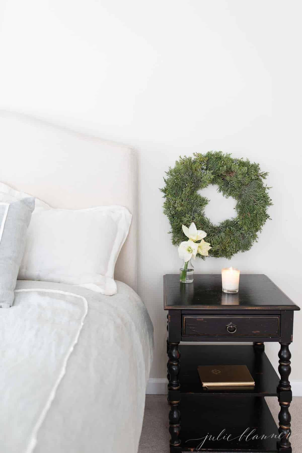 wreath over nightstand
