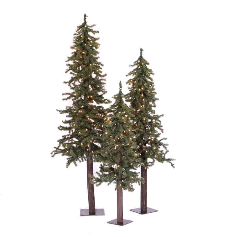 A set of three green prelit alpine Christmas trees on a white background.