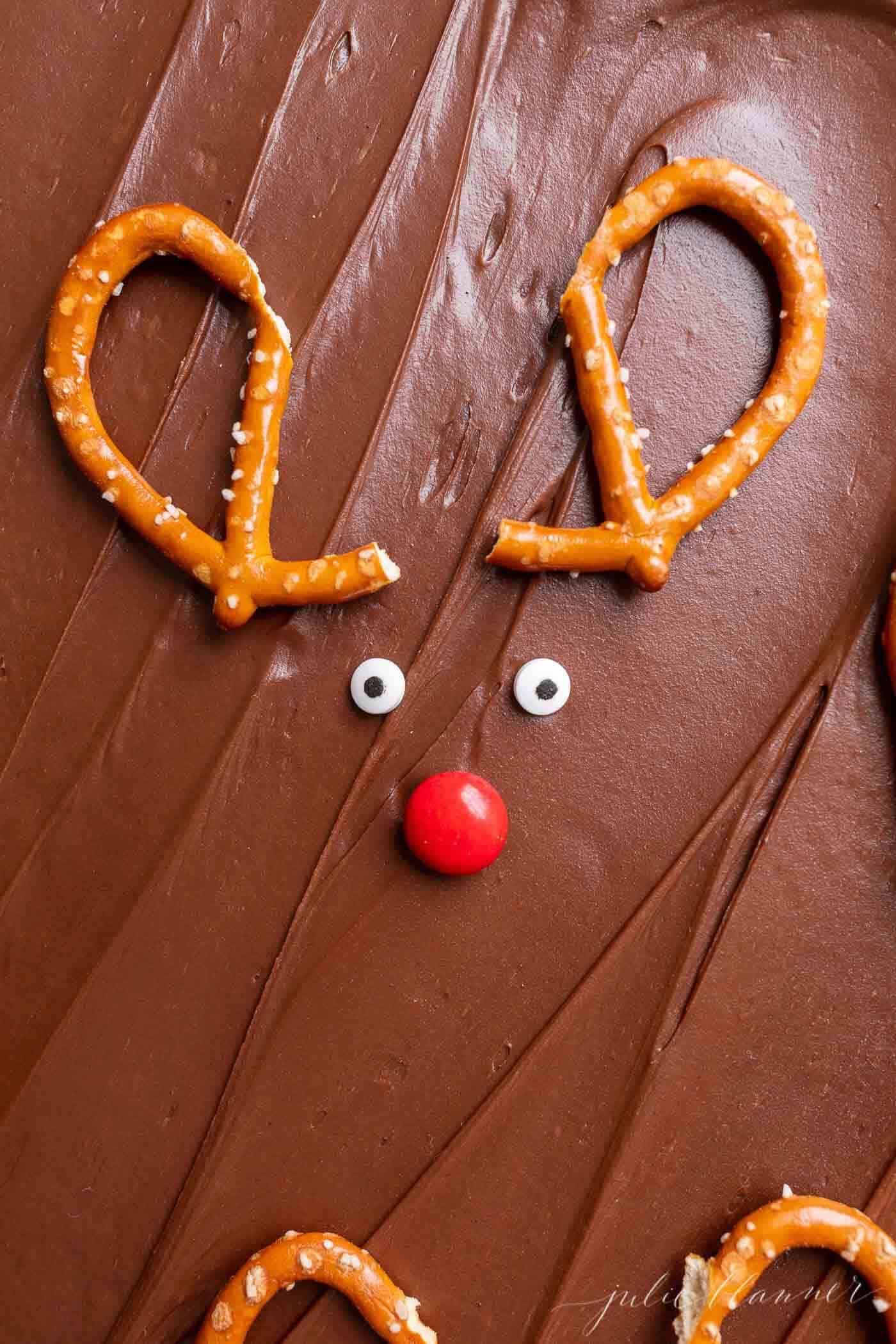Close-up of reindeer brownies, in a sheet of Christmas brownies.