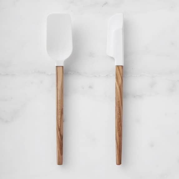 Silicone Mini Spatulas with Olivewood Handles, Set of 2 in White