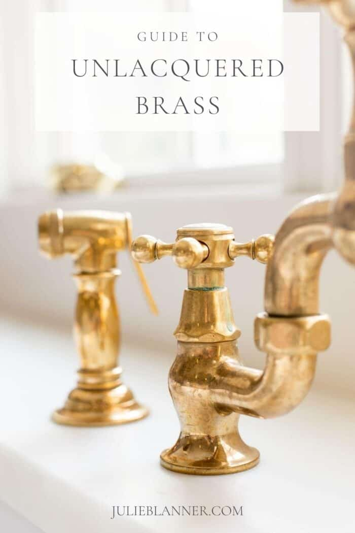 unlacquered brass faucet with text overlay