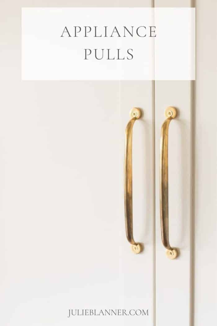 unlacquered brass appliance pulls with text overlay