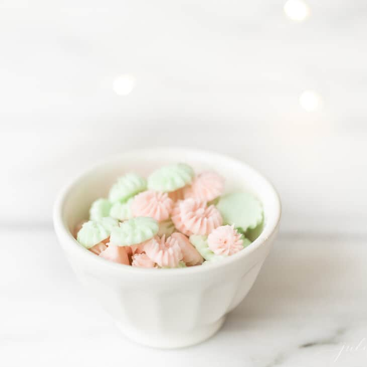 Cream cheese mints served in a white bowl