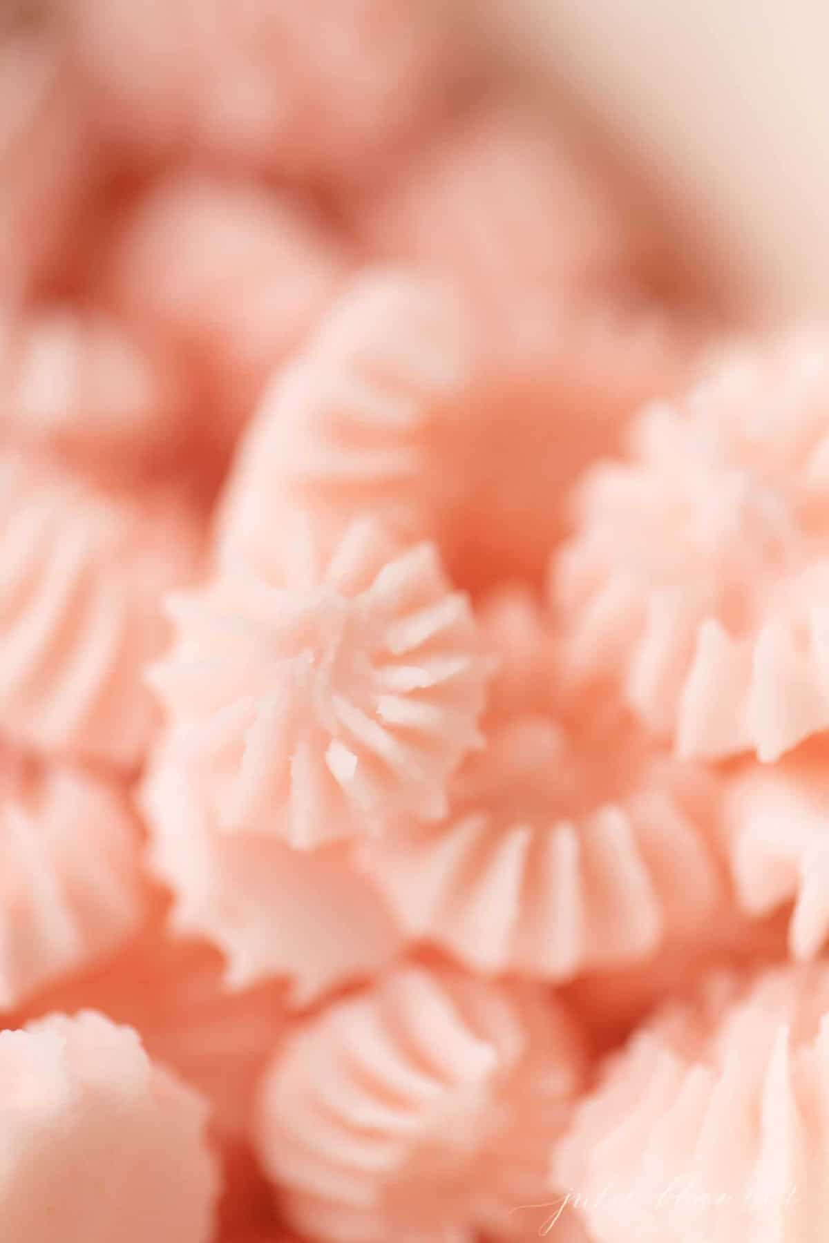 Close up of pink cream cheese mints