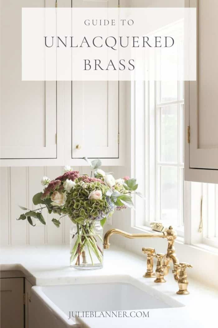 kitchen with unlacquered brass faucet and text overlay