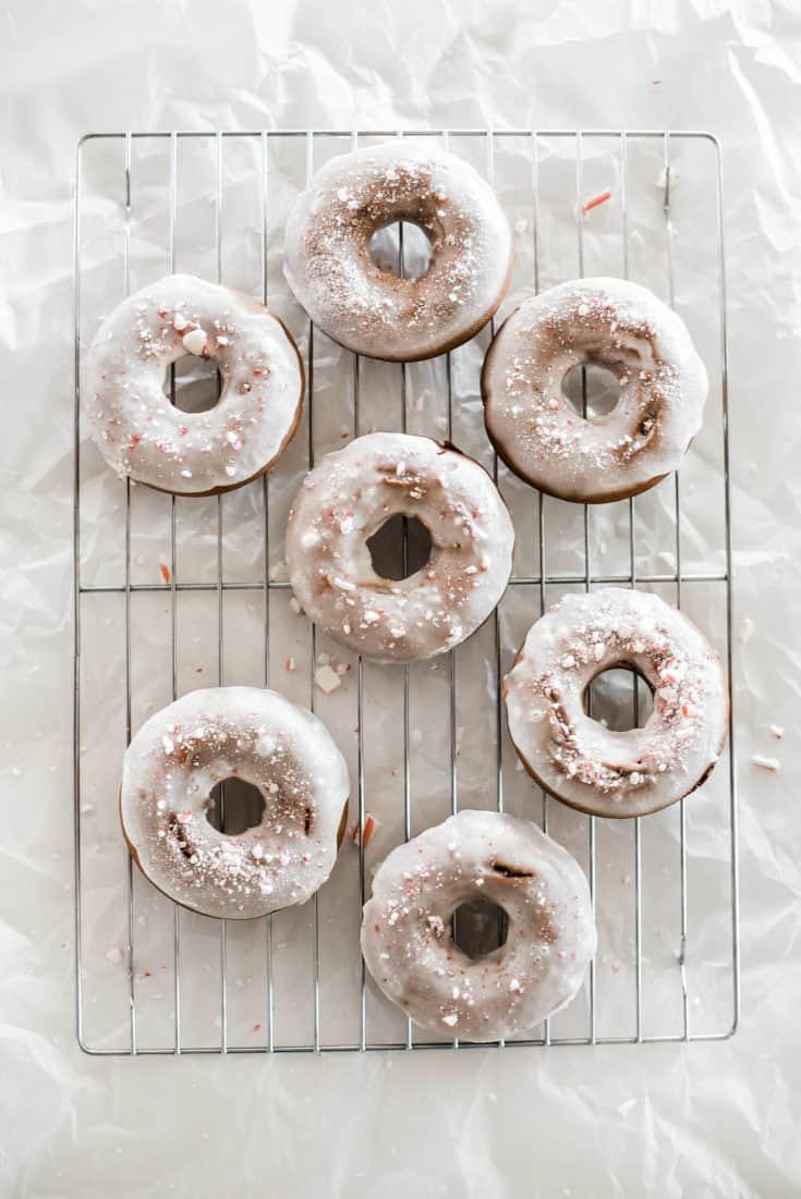 Baked Peppermint Bark Christmas Donuts