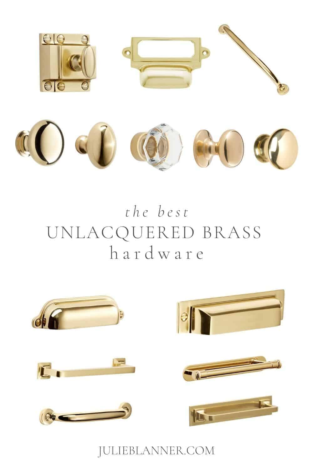 graphic of unlacquered brass pulls, locks, and knobs